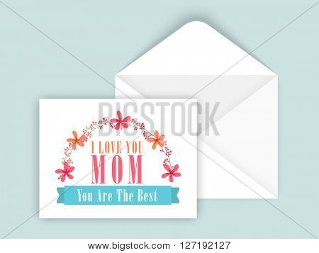 Glossy Greeting Card design with Envelope for Happy Mother's Day celebration.