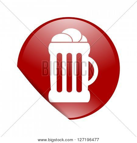 beer red circle glossy web icon