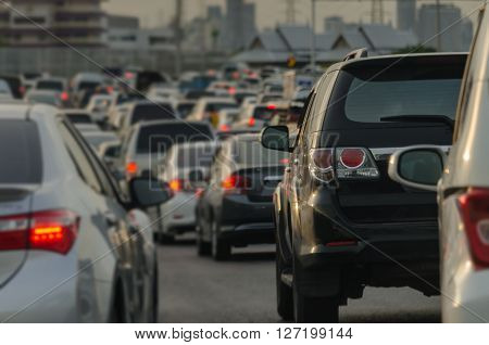 Abstract Blur Of Traffic Jam With Row Of Cars On Expressway