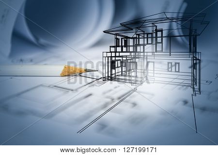 Concept Of Dream House Draw By Designer With Construction Drawing