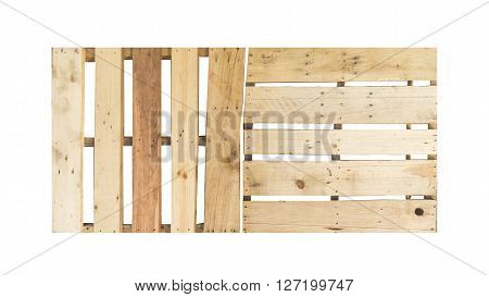 the wood pallet on white background .