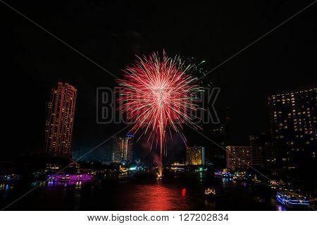 The firework on Chaopraya river Bangkok Thailand