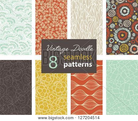 Vector Vintage Doodle Repeat Seamless Patterns 8 Set With Various Hand Drawn Textures In Matching Prints. Perfect for scrapbooking, wallpaper, bedding, furniture, packaging. Textile design and surface pattern graphic design set.