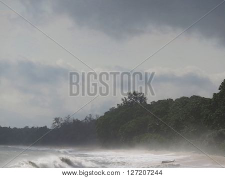 Beautiful Misty Beach at Dawn Desaru Beach Johor Malaysia