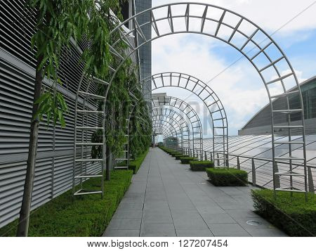 SINGAPORE ASIA -  NOVEMBER 22:  Pedestrian Walkway Gardens by the Bay nature park November 22, 2014 in Singapore Bay Marina, Asia
