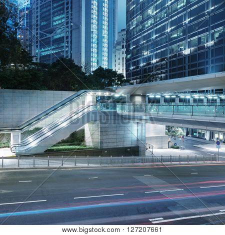 urban road at night,hongkong china