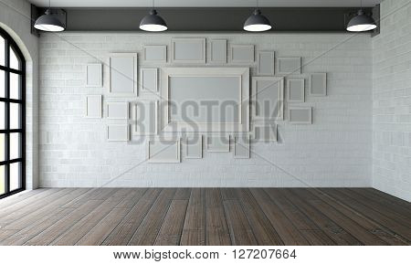 3D Render of picture frames inempty room