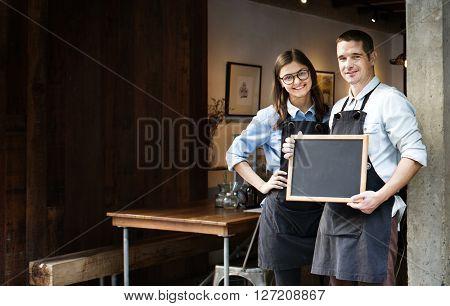 Coffee Shop Cafe Restaurant Blackboard Opening Concept