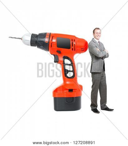 Drilling machine and businessman on white