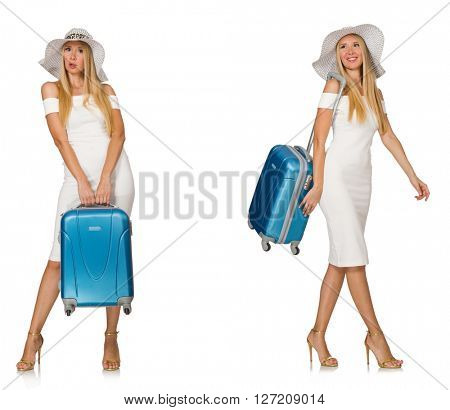 Travelling woman with suitcase isolated on white