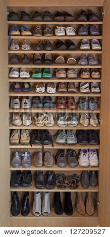 Women's shoes - shelves of shoes, from high heels to slip ons - fashion.