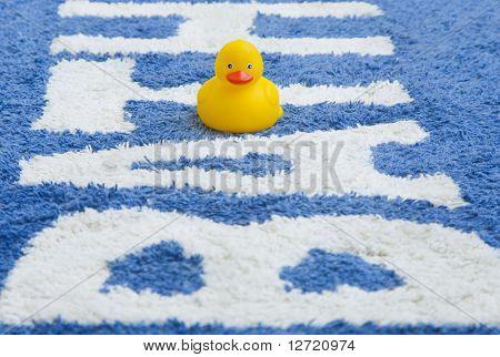 Rubber Duckie On Bathmat