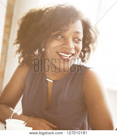 African Descent Woman Smiling Office Beautiful Concept