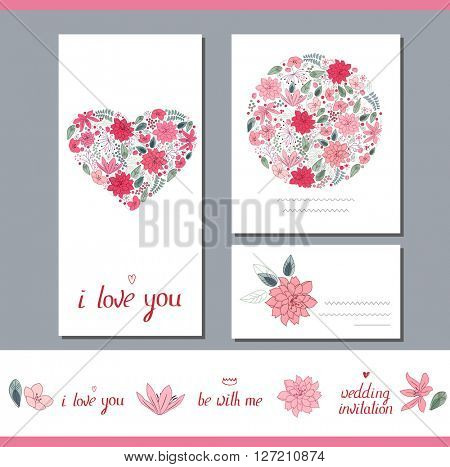 Floral spring templates with heart made of different stylized flowers. For romantic and wedding design, announcements, greeting cards, posters, advertisement.