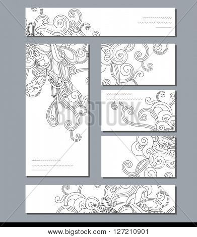 Black and white template with abstract swirls. For modern design, decoration,  greeting cards, posters,  advertisement.