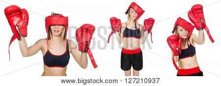 Woman boxer on white background