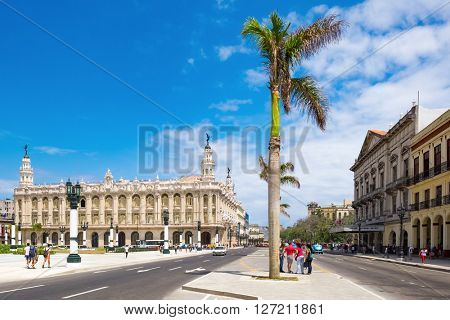 HAVANA,CUBA - APRIL 20,2016 : Street scene in downtown Havana with a view of the Great Theater