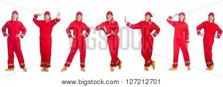Woman in red overalls isolated on white