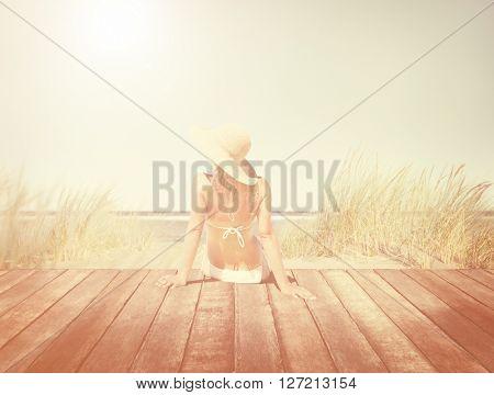 Woman Wearing Bikini in a Summer Vacation