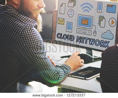 Cloud Network Connection Data Information Storage Concept