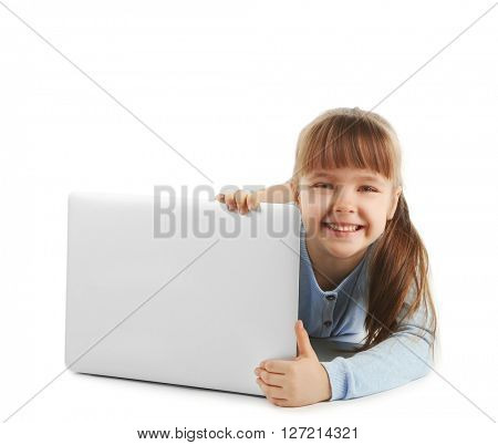 Little girl with laptop isolated on white