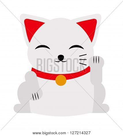 Japanese maneki neko lucky cat fortune symbol success kitty toy cartoon vector illustration. Maneki neko lucky cat and cute lucky cat toy. Cute cat cartoon Japanese maneki neko toy luck and prosperity