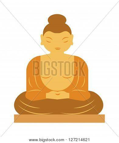 Buddha statue bangkok thailand religion statue asia buddhist meditation art flat vector illustration. Buddha statue and buddha spiritual face. Thailand religion statue asia sculpture symbol.