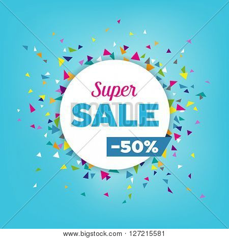 Sales poster or background - modern design made of geometrical shapes. Can be used to advertise sales events and discounts.