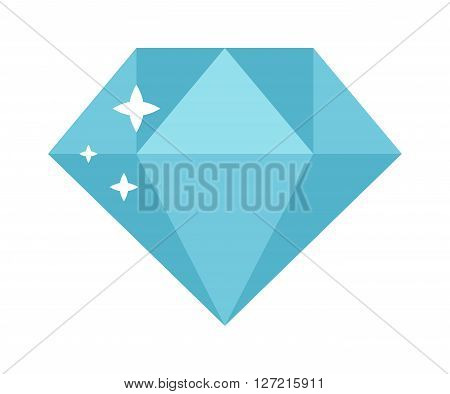 Flat design diamond illustration. Colored diamond isolated on white background. Blue diamond stone isolated on white background. Diamond jewelry shiny gem.