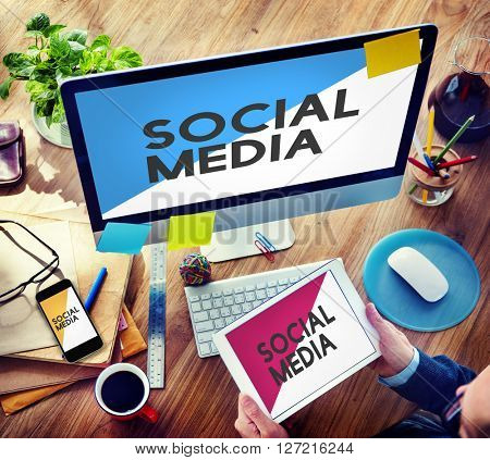 Businessman Connected Devices Social Media Network Concept