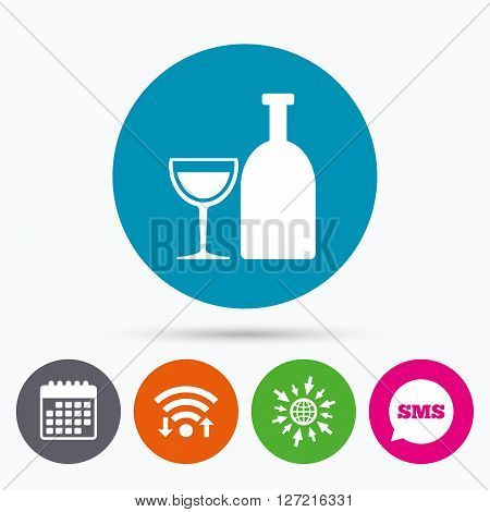 Wifi, Sms and calendar icons. Alcohol sign icon. Drink symbol. Bottle with glass. Go to web globe.