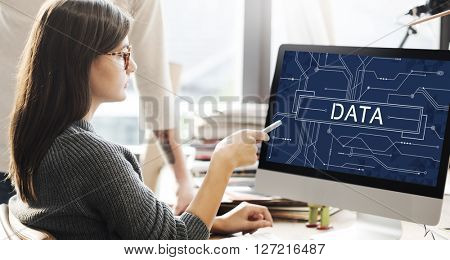 Data Circuit Board Technology Futuristic Information Concept