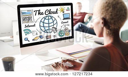 The Cloud Storage Technology Web Online Concept