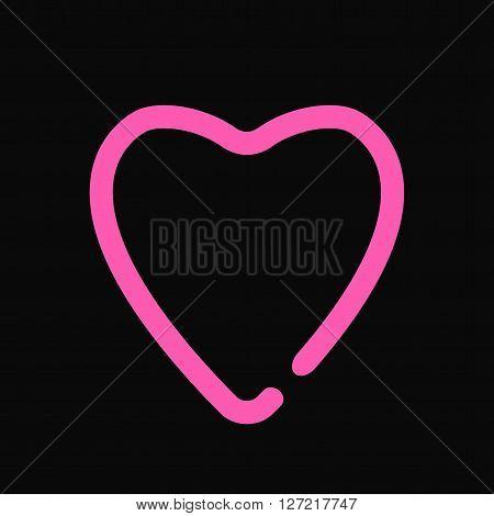Neon heart love symbol light design on the black wall vector illustration. Neon heart love symbol and glow shape neon heart. Neon heart bright pink color holiday dark romantic illuminated decoration.