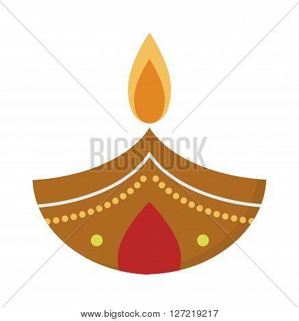 Vector illustration traditional celebration happy diwali candle festival lamp celebration decoration. Diwali candle decoration and traditional diwali candle. Hindu religious culture diwali symbol.
