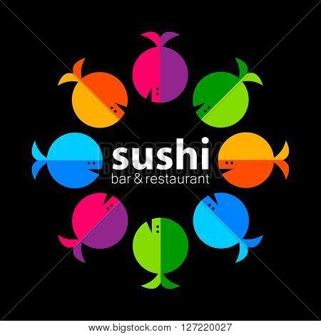 Sushi logo. Sushi bar restaurant design element. Sushi food,  sashimi, japanese food, sushi fish, sushi chef, sushi menu, japanese restaurant.