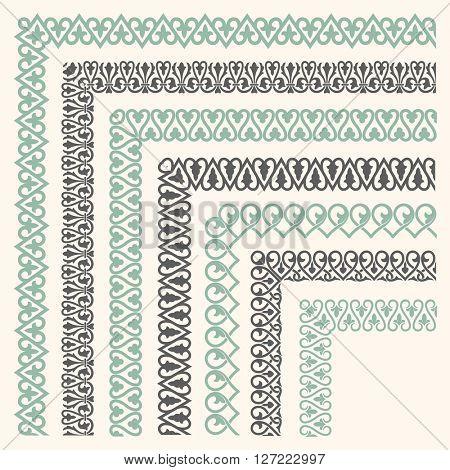 Decorative seamless ornamental border with corner