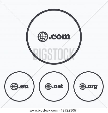 Top-level internet domain icons. Com, Eu, Net and Org symbols with globe. Unique DNS names. Icons in circles.