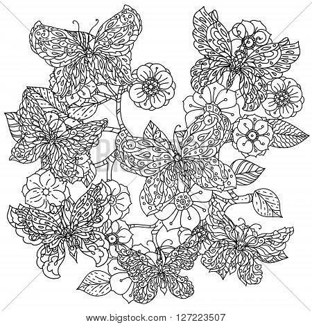 Uncoloured frame flowers and butterfly for adult coloring book in famous zenart style. Hand-drawn, retro, doodle, vector, uncoloured. The best for design, textiles, posters, coloring book in vector.
