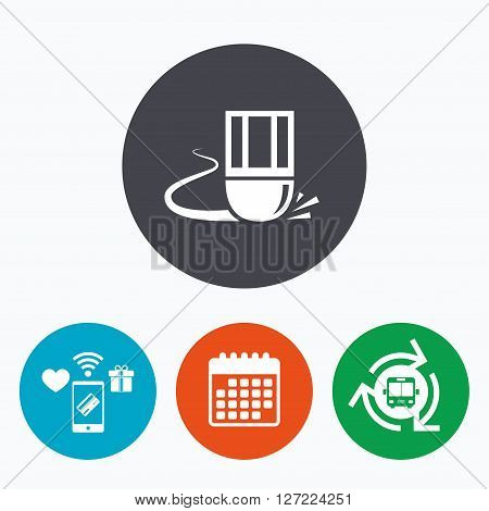 Eraser icon. Erase pencil line symbol. Correct or Edit drawing sign. Mobile payments, calendar and wifi icons. Bus shuttle.