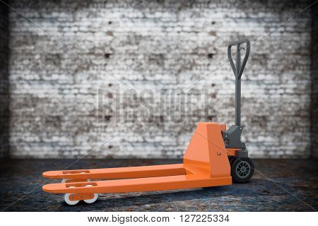 Hand Pallet Truck on a grunge background. 3d Rendering