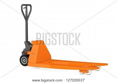 Hand Pallet Truck on a white background. 3d Rendering