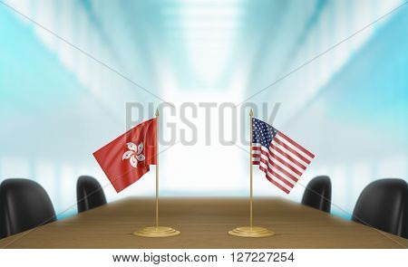 Hong Kong and United States relations and trade deal talks, 3D rendering