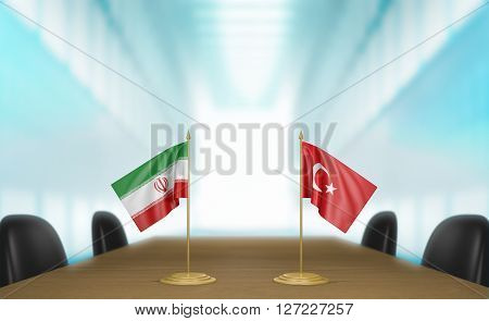Iran and Turkey relations and trade deal talks, 3D rendering