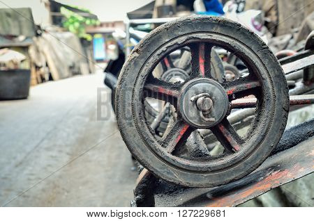 Old wheel carts, Close up with place for your text