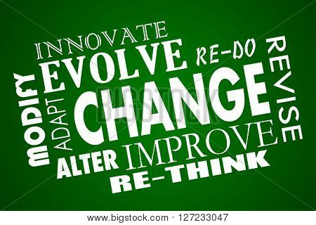 Change Adapt Evolve Improve Revise Rethink Word Collage