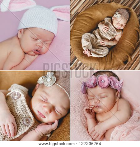 Peaceful sleep of a newborn baby,a collage of four pictures on different backgrounds,cute baby sleeping sweetly tucked arms and legs