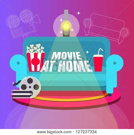 Cool Vector 'movie At Home' Flat Design Illustration. Trendy Concept Design On Home Movie Watching E