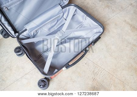 Opening suitcase for packing the cloth stock photo