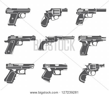 set of 9 pistol icons, gun icons